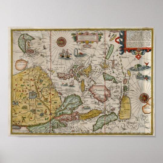 1596 Asia Renaissance-era  Map Poster