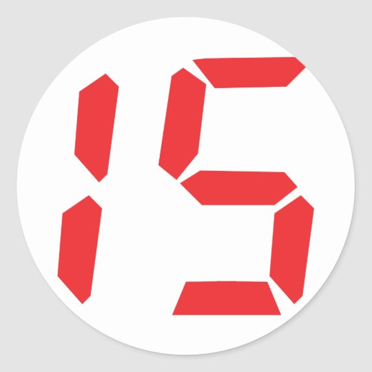 15 fifteen  red alarm clock digital number classic round sticker