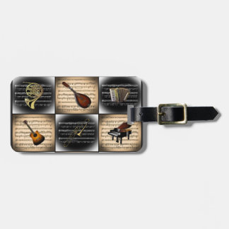 15 Musical Instruments ~ Sheet Music Background Luggage Tag