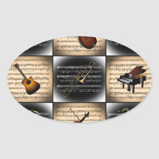 15 Musical Instruments ~ Sheet Music Background Oval Sticker