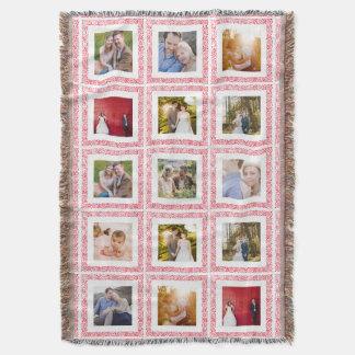 15 Photo Collage Wood Stamp Border Throw Blanket