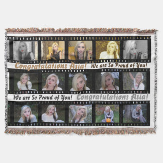 "15 photographs in a ""film strip"" photo collage throw blanket"
