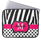 "15"" Pink Black Zebra Stripes Polka Dot Laptop Case"