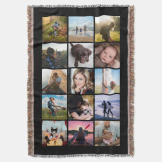 15 Square Photo Collage Keepsake Black Throw Blanket