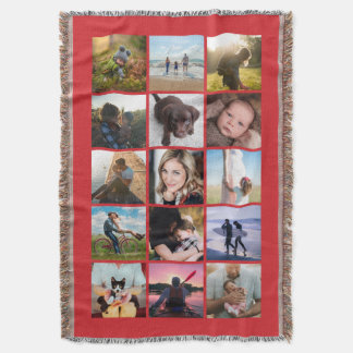 15 Square Photo Collage Keepsake Red Throw Blanket