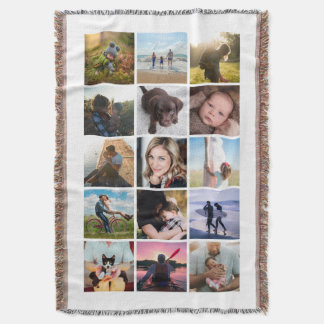 15 Square Photo Collage Keepsake Throw Blanket