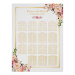 15 Tables Wedding Seating Chart Classy Chic Floral