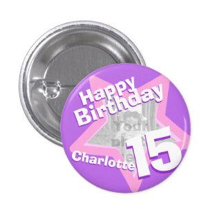 15ème Insigne rose pourpre de bouton d'amusement d Macaron Rond 2,50 Cm