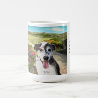 15oz Mug: Pie in a Field of Dahlias (dog on trail) Coffee Mug