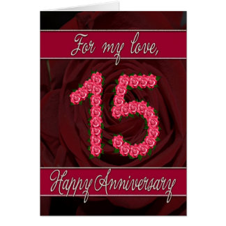 15th anniversary card with roses and leaves
