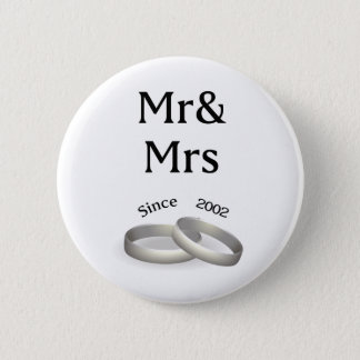 15th anniversary matching Mr. And Mrs. Since 2002 2 Inch Round Button