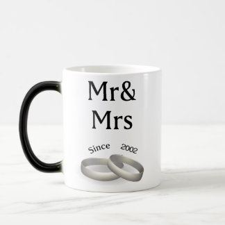 15th anniversary matching Mr. And Mrs. Since 2002 Magic Mug