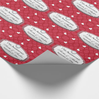 15th Anniversary Wedding Anniversary Red Z12 Wrapping Paper