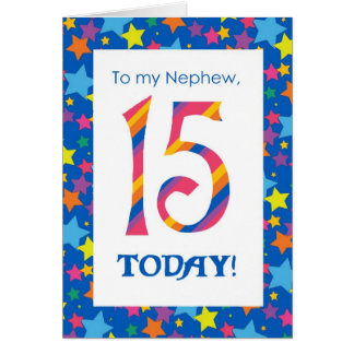 15th Birthday Card for Nephew, Stripes and Stars