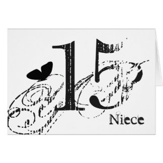 15th birthday for a niece, black butterfly, text. greeting card