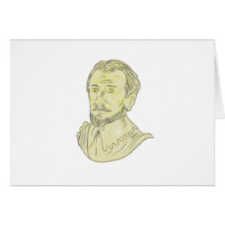 15th Century Spanish Explorer Bust Drawing Card