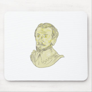 15th Century Spanish Explorer Bust Drawing Mouse Pad