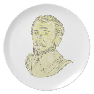 15th Century Spanish Explorer Bust Drawing Plate