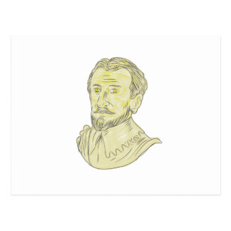 15th Century Spanish Explorer Bust Drawing Postcard