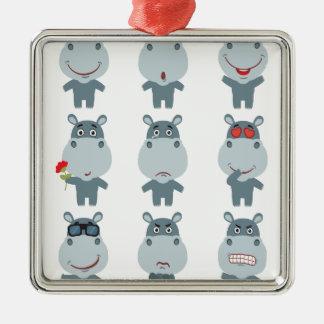 15th February - Hippo Day - Appreciation Day Metal Ornament