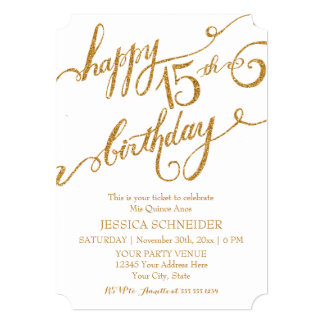 15th Mis Quince Anos, Quinceanera Birthday Ticket Card