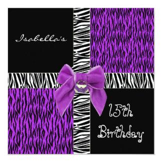15th Teen Birthday Wild Purple Animal Black Invites