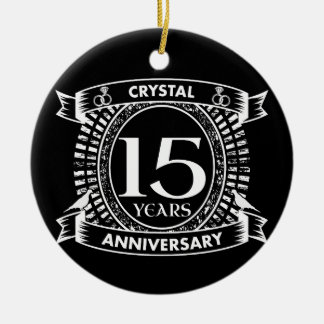 15TH wedding anniversary black and white Ceramic Ornament