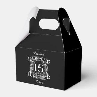 15TH wedding anniversary black and white Favor Box
