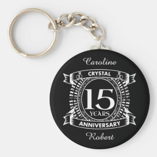 15TH wedding anniversary black and white Keychain