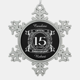15TH wedding anniversary black and white Snowflake Pewter Christmas Ornament