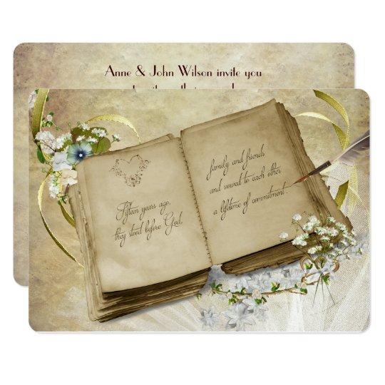 15th Wedding Anniversary Vintage Vow Renewal Card
