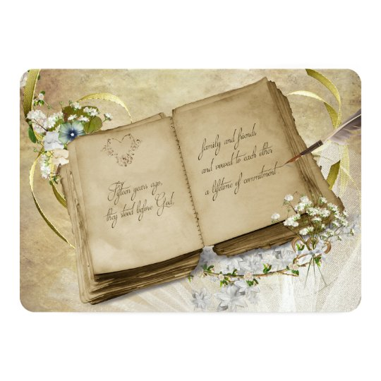 15th Wedding Anniversary Vintage Vow Renewal Card
