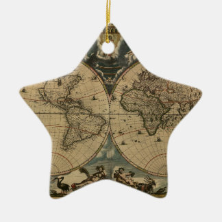 1600s original painted world map ceramic ornament