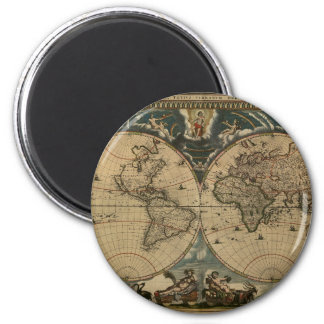 1600s original painted world map magnet