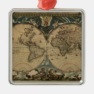 1600s original painted world map metal ornament
