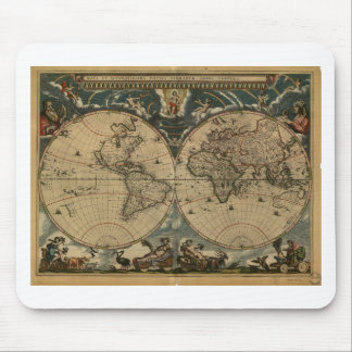 1600s original painted world map mouse pad