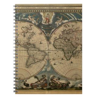 1600s original painted world map notebooks