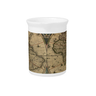 1600s original painted world map pitcher