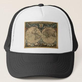 1600s original painted world map trucker hat