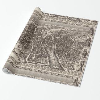1618 Map of Paris by Claes Jansz. Visscher Wrapping Paper