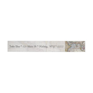 1626 Vintage World Map Wraparound Address Label