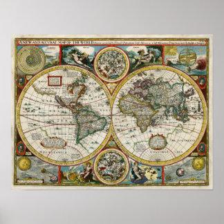 1627 Vintage World Map Poster