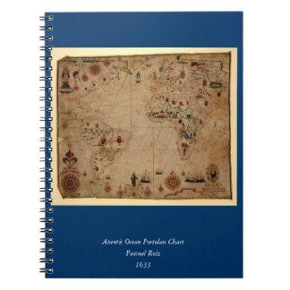 1633 Atantic Ocean Portolan Chart - Pascoal Roiz Spiral Note Book