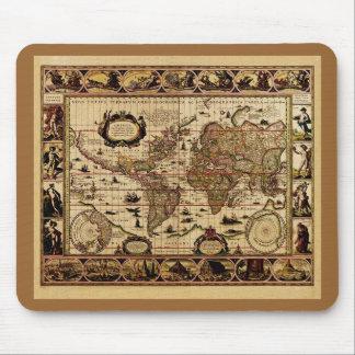 1635 World Map by Willem Blaeu Mousepad