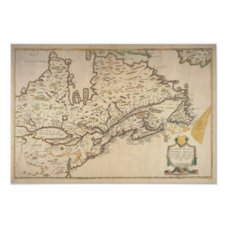 1643 French Map off New France Poster