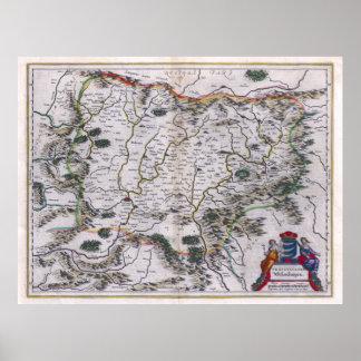 1647 Transylvania Map Poster