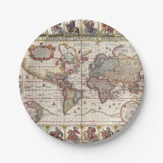 1652 Map of the World, Doncker Sea Atlas World Map Paper Plate