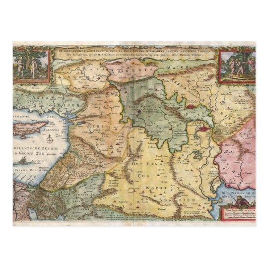 1657 Visscher Map of the Holy Land Postcard