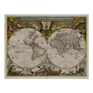1664 Map of the World Poster