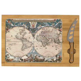 1664 Vintage Old World Map Cartography Design Round Cheeseboard